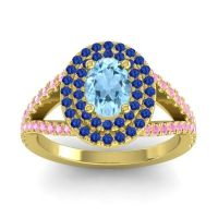 Ornate Oval Halo Dhala Aquamarine Ring with Blue Sapphire and Pink Tourmaline in 18k Yellow Gold