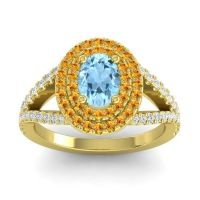 Ornate Oval Halo Dhala Aquamarine Ring with Citrine and Diamond in 14k Yellow Gold