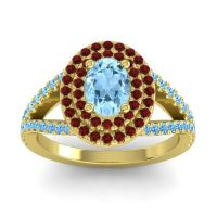 Ornate Oval Halo Dhala Aquamarine Ring with Garnet and Swiss Blue Topaz in 18k Yellow Gold