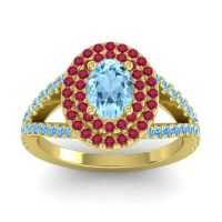Ornate Oval Halo Dhala Aquamarine Ring with Ruby and Swiss Blue Topaz in 14k Yellow Gold
