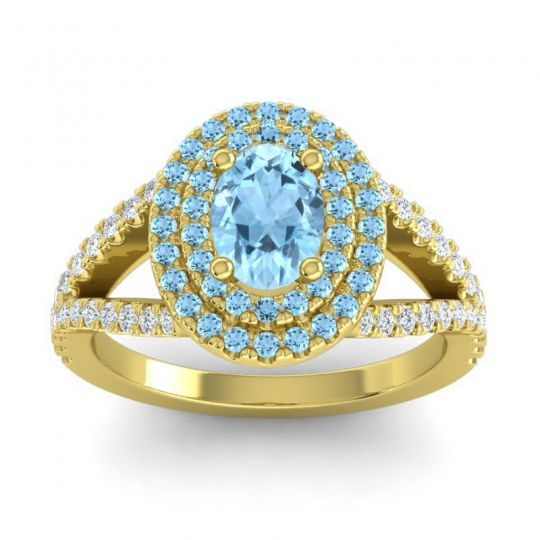 Ornate Oval Halo Dhala Aquamarine Ring with Diamond in 14k Yellow Gold