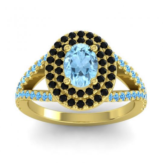 Ornate Oval Halo Dhala Aquamarine Ring with Black Onyx and Swiss Blue Topaz in 18k Yellow Gold