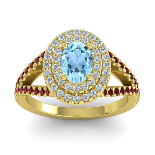 Ornate Oval Halo Dhala Aquamarine Ring with Diamond and Garnet in 14k Yellow Gold