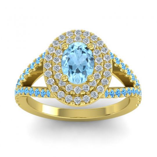 Ornate Oval Halo Dhala Aquamarine Ring with Diamond and Swiss Blue Topaz in 14k Yellow Gold