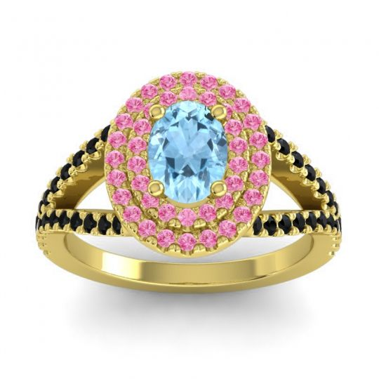 Ornate Oval Halo Dhala Aquamarine Ring with Pink Tourmaline and Black Onyx in 18k Yellow Gold