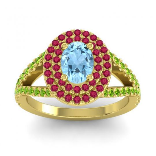 Ornate Oval Halo Dhala Aquamarine Ring with Ruby and Peridot in 14k Yellow Gold