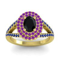 Ornate Oval Halo Dhala Black Onyx Ring with Amethyst and Blue Sapphire in 18k Yellow Gold