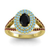 Ornate Oval Halo Dhala Black Onyx Ring with Aquamarine and Garnet in 14k Yellow Gold