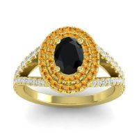 Ornate Oval Halo Dhala Black Onyx Ring with Citrine and Diamond in 14k Yellow Gold