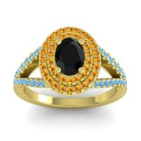 Ornate Oval Halo Dhala Black Onyx Ring with Citrine and Swiss Blue Topaz in 18k Yellow Gold