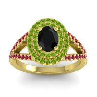 Ornate Oval Halo Dhala Black Onyx Ring with Peridot and Ruby in 18k Yellow Gold