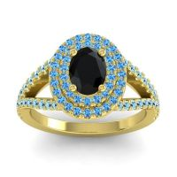 Ornate Oval Halo Dhala Black Onyx Ring with Swiss Blue Topaz and Aquamarine in 18k Yellow Gold