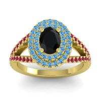 Ornate Oval Halo Dhala Black Onyx Ring with Swiss Blue Topaz and Ruby in 18k Yellow Gold