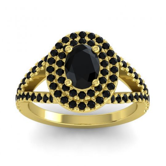 Ornate Oval Halo Dhala Black Onyx Ring in 14k Yellow Gold