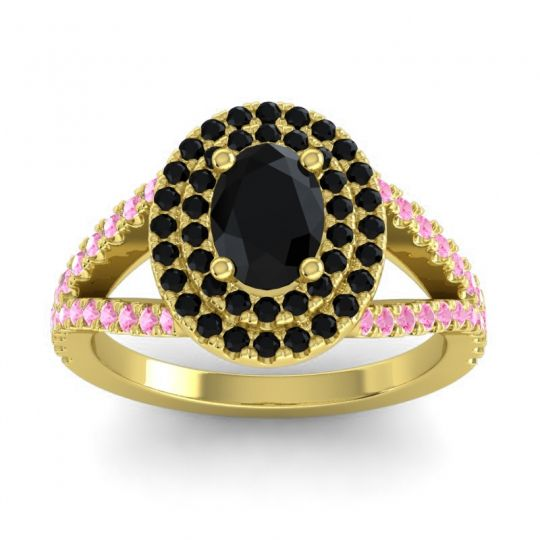 Ornate Oval Halo Dhala Black Onyx Ring with Pink Tourmaline in 14k Yellow Gold
