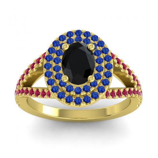 Ornate Oval Halo Dhala Black Onyx Ring with Blue Sapphire and Ruby in 14k Yellow Gold