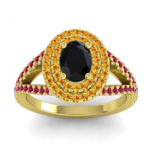 Ornate Oval Halo Dhala Black Onyx Ring with Citrine and Ruby in 18k Yellow Gold