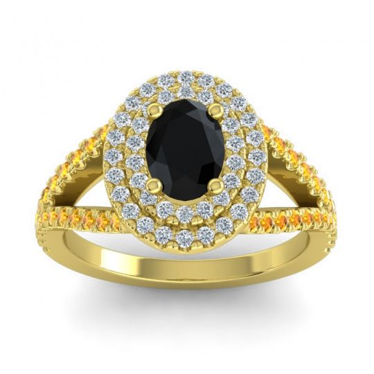 Ornate Oval Halo Dhala Black Onyx Ring with Diamond and Citrine in 18k Yellow Gold