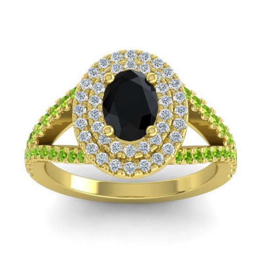 Ornate Oval Halo Dhala Black Onyx Ring with Diamond and Peridot in 18k Yellow Gold