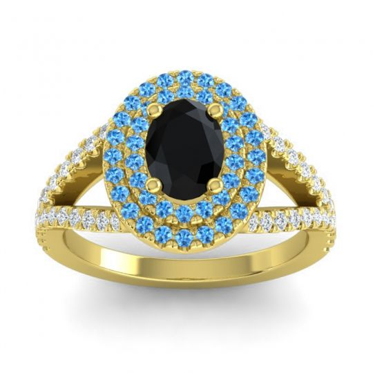 Ornate Oval Halo Dhala Black Onyx Ring with Swiss Blue Topaz and Diamond in 18k Yellow Gold