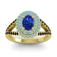 Ornate Oval Halo Dhala Blue Sapphire Ring with Aquamarine and Black Onyx in 14k Yellow Gold