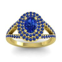 Ornate Oval Halo Dhala Blue Sapphire Ring in 14k Yellow Gold
