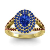 Ornate Oval Halo Dhala Blue Sapphire Ring with Garnet in 14k Yellow Gold