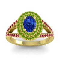 Ornate Oval Halo Dhala Blue Sapphire Ring with Peridot and Ruby in 18k Yellow Gold