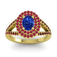 Ornate Oval Halo Dhala Blue Sapphire Ring with Ruby and Garnet in 14k Yellow Gold