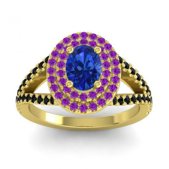 Ornate Oval Halo Dhala Blue Sapphire Ring with Amethyst and Black Onyx in 18k Yellow Gold