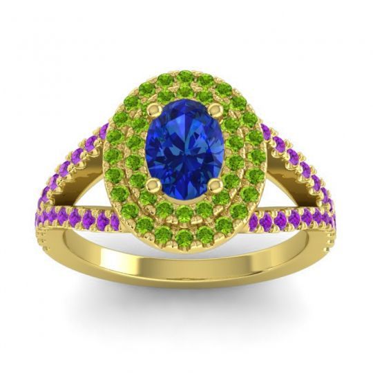 Ornate Oval Halo Dhala Blue Sapphire Ring with Peridot and Amethyst in 18k Yellow Gold