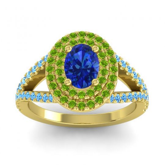 Ornate Oval Halo Dhala Blue Sapphire Ring with Peridot and Swiss Blue Topaz in 14k Yellow Gold