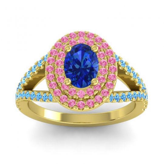 Ornate Oval Halo Dhala Blue Sapphire Ring with Pink Tourmaline and Swiss Blue Topaz in 14k Yellow Gold