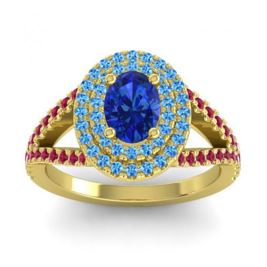 Ornate Oval Halo Dhala Blue Sapphire Ring with Swiss Blue Topaz and Ruby in 18k Yellow Gold