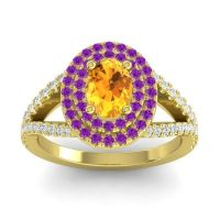 Ornate Oval Halo Dhala Citrine Ring with Amethyst and Diamond in 18k Yellow Gold