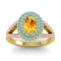 Ornate Oval Halo Dhala Citrine Ring with Aquamarine and Pink Tourmaline in 18k Yellow Gold