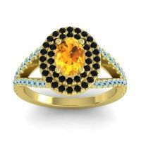Ornate Oval Halo Dhala Citrine Ring with Black Onyx and Aquamarine in 14k Yellow Gold