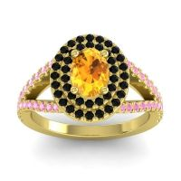 Ornate Oval Halo Dhala Citrine Ring with Black Onyx and Pink Tourmaline in 14k Yellow Gold