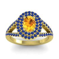 Ornate Oval Halo Dhala Citrine Ring with Blue Sapphire in 14k Yellow Gold