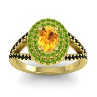 Ornate Oval Halo Dhala Citrine Ring with Peridot and Black Onyx in 18k Yellow Gold