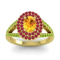 Ornate Oval Halo Dhala Citrine Ring with Ruby and Peridot in 14k Yellow Gold