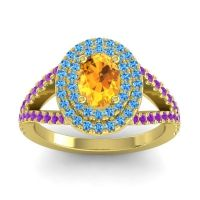Ornate Oval Halo Dhala Citrine Ring with Swiss Blue Topaz and Amethyst in 14k Yellow Gold