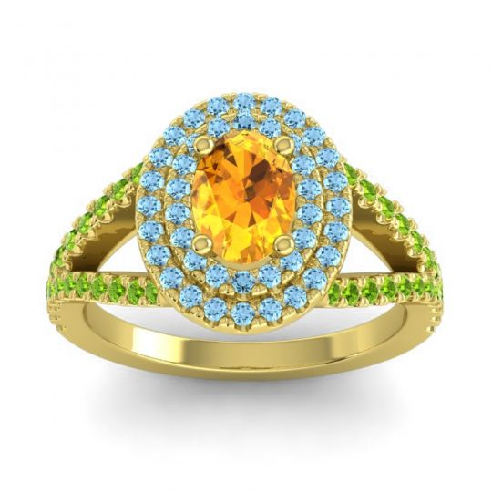 Ornate Oval Halo Dhala Citrine Ring with Aquamarine and Peridot in 14k Yellow Gold