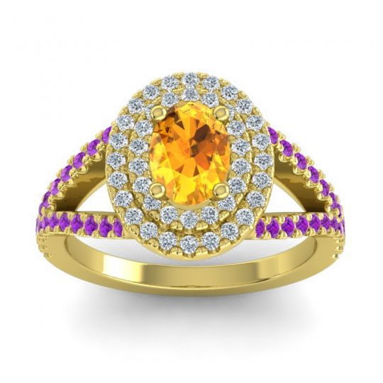 Ornate Oval Halo Dhala Citrine Ring with Diamond and Amethyst in 18k Yellow Gold