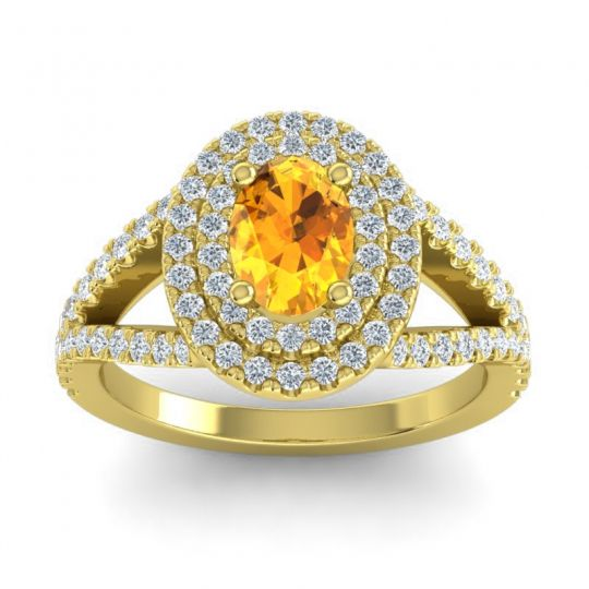 Ornate Oval Halo Dhala Citrine Ring with Diamond in 18k Yellow Gold