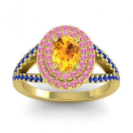 Ornate Oval Halo Dhala Citrine Ring with Pink Tourmaline and Blue Sapphire in 18k Yellow Gold