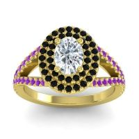 Ornate Oval Halo Dhala Diamond Ring with Black Onyx and Amethyst in 18k Yellow Gold