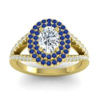 Ornate Oval Halo Dhala Diamond Ring with Blue Sapphire in 18k Yellow Gold