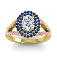 Ornate Oval Halo Dhala Diamond Ring with Blue Sapphire and Pink Tourmaline in 14k Yellow Gold