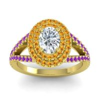 Ornate Oval Halo Dhala Diamond Ring with Citrine and Amethyst in 14k Yellow Gold